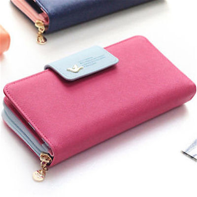 Fashion Lady Womens Long Clutch Purse Leather Zip Wallet Card Holder Rosered