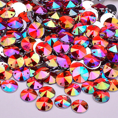 50 AB Red Sew or Glue on Resin Crystals, Flat Back Round Rivoli Gems for Costume