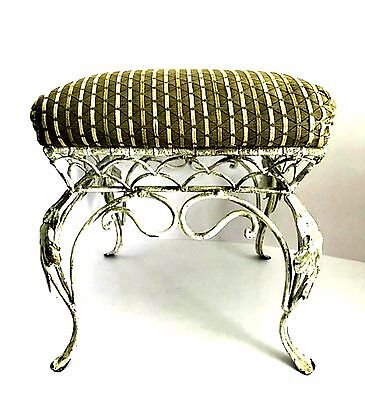 Vintage Ornate Metal Footstool with Padded Top Green Fabric 11 inches Square