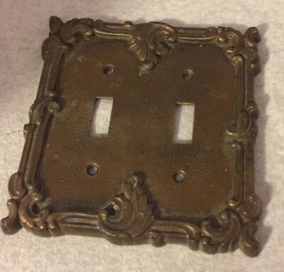 Vintage Ornate Floral Rose Scroll Brass Metal Light Switch Cover
