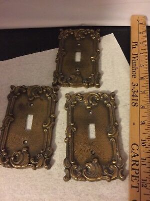 Vintage Ornate Floral Rose Scroll Brass Metal Light Switch Covers Three Covers