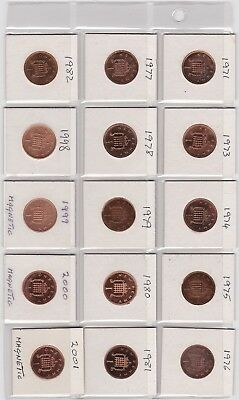 Date Run Of 16 One Pence Coins 1985 To 1999 In Near Mint Condition