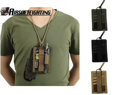 Military Tactical Nylon Pass Card Credit ID Card Holder Pouch with Neck Lanyard