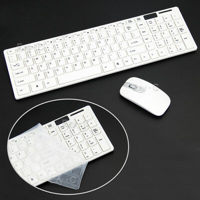 2.4 GHz Cordless Wireless Keyboard and Optical Mouse USB Receiver Set White NEW