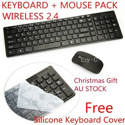 Black 2.4 GHz Cordless Wireless Keyboard and Optical Mouse USB Receiver Set AU