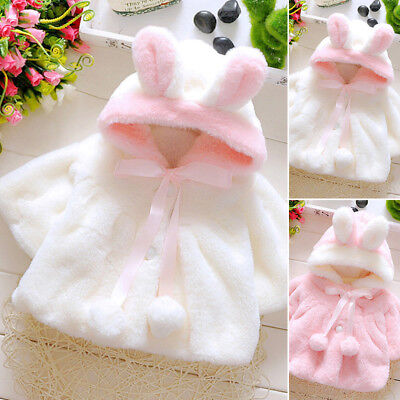 Baby Infant Girls Fur Thick Winter Warm Jacket Outwear Tops Hooded Cloak Poncho