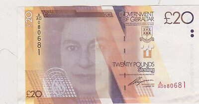 P37 Gibraltar £20 Note Dated 2011 In Extremely Fine Condition