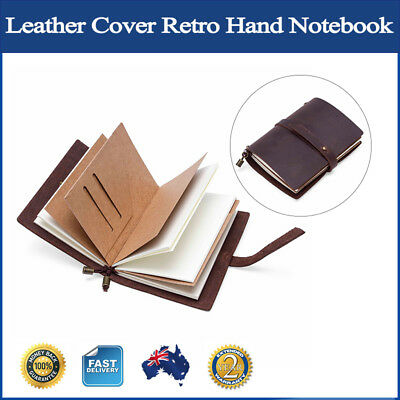 Leather Cover Retro Hand Notebook Full-page Binder Kraft Paper Diary Journal New