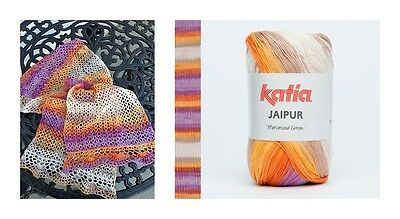 Scarf Crochet Kit KATIA JAIPUR 100% Mercerised LACEWEIGHT COTTON yarn