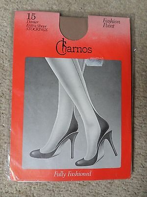 Vtg Charnos Fashion Point 15 Den Extra Sheer Seamed Stockings Champagne Large