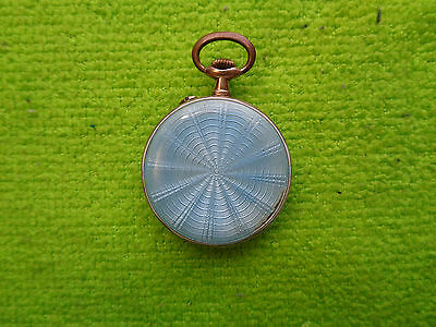 Argent Dore Silver Gold Plated Enamel Pocket Watch Working