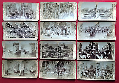 12 alte Stereo Foto um 1890 diverse International Italien Japan England ( F14853