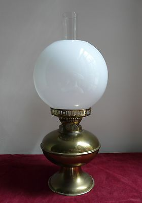 Vintage Brass Oil Lamp with Chimney & White Shade
