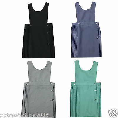Girls School Wear Stylish Bib Pinafore Dungaree Pleated Button Uniform Dress Top