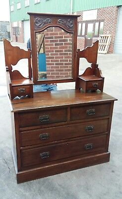 antique wooden dressing table with mirror