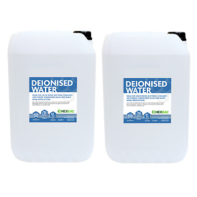 DEIONISED WATER | 2x 25 LITRE | (De Mineralised/De Ionised/Not Distilled) 50 L