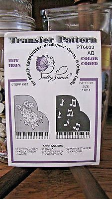 Pretty Punch Iron Transfer Pattern, Punch Embroidery - Pianos #6033 AB - NOS