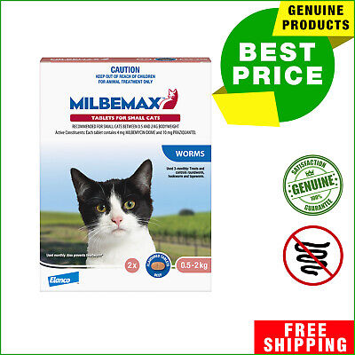 Milbemax Allwormer 2 Tablets Cat Worm treatment for Small Cats 0.5 to 2 Kg