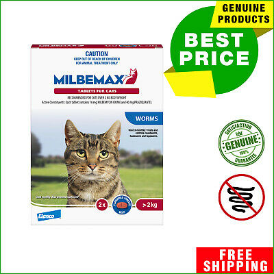 Milbemax Allwormer 2 Tablets Cat Worm treatment for Large Cats Over 2 Kg