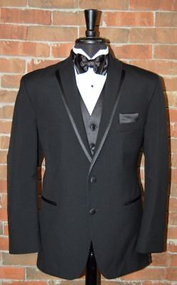 MENS 44 S BLACK LA STRADA by  AFTER SIX SLIM FIT TUXEDO DINNER JACKET