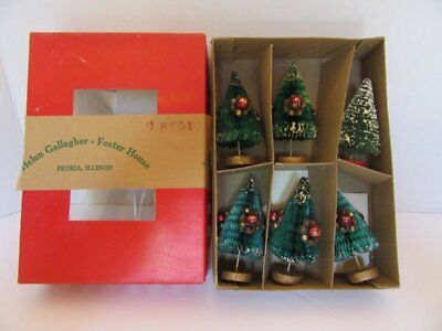 Vintage Box 6 Paper Honeycomb Christmas Trees W/mercury Glass Beads Japan