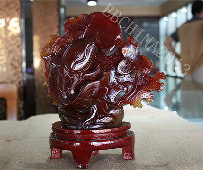 "10"" Chinese 100% Natural Agate Jade Hand-carved Fish Sea Plants Statue Sculpture"