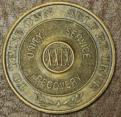 Alcoholics Anonymous AA 29 XXIX YEAR TTOSBT Medallion token sobriety chip RARE