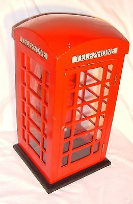 English Telephone Booth For A Land Line Phone With Light Inside Metal / Plastic