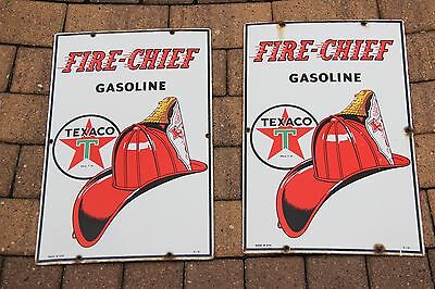 Vintage 1951 Original Pair Of Two Texaco Fire Chief Porcelain Signs Sign 18 X 12