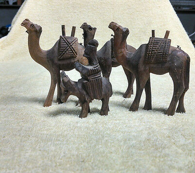 Vintage Wood Camels, Donkey, Nativity Hand Carved Collection