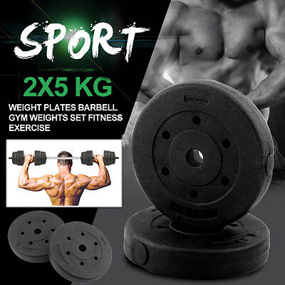2x5 KG Weight Plates Barbell Dumbbell Plate Home & Gym Weights Fitness Exercise