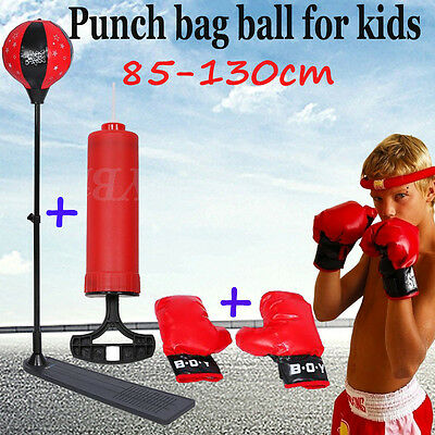 Adjustable Height Boxing Sports Set Kits with Gloves Punching Ball Bag for Kids