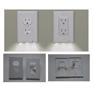 Snap Power  Guidelight Outlet Coverplate with LED Light, White.2 styleS