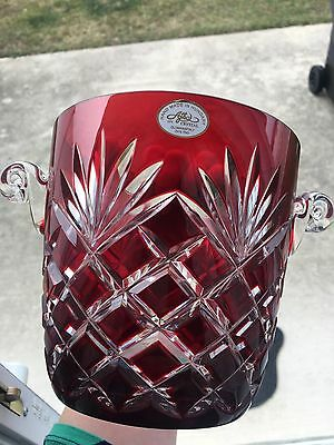 Ajka CRYSTAL Heloise Ruby Red CUT TO CLEAR CRYSTAL pail ICE BUCKET Hungary LOOK