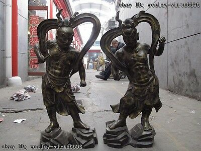 27 China temple Bronze Door God deity Deva kings Heng Ha Two warrior Statue Pair