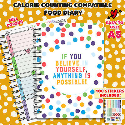 Food Diary SW Compatible Calorie WW Diets Planner Tracker Log Book Journal IUB2