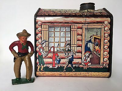 LOG CABIN SYRUP TIN - WESTERN TOWN - COWBOY -  ADVERTISING TINS - 1950s