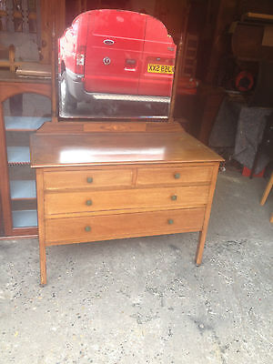 Antique Inlaid Mahogany Victorian Dressing Table Chest Of 4 Drawers with Mirror