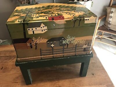 Primitive Style Chest Decorative Trunk Hand Painted And Lacquer Folk Art