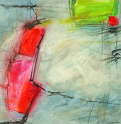 J.Taylor Abstract art original contemporary painting on paper red lime grey pink