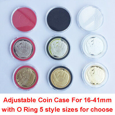 40X US Capsules Coin Badge Case Holder Display for 16-41mm Black/White/Red Ring