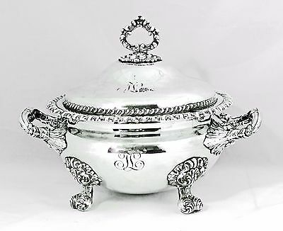 Antique Victorian SHEFFIELD Silver Plate Tureen w/STERLING SILVER MOUNTS Ornate