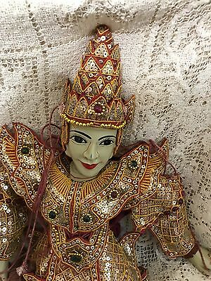 Beautiful Vintage Traditional Burmese Puppet Marionette Stone head hands