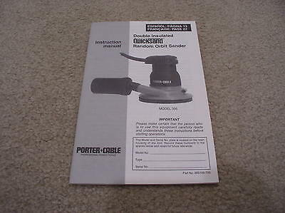 Instruction Manual for Porter Cable Quicksand Random Orbit Sanders Model 335