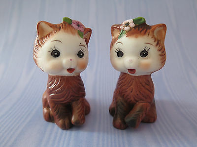 VINTAGE Brown KITTENS CATS with Pink Flower Salt and Pepper Shakers