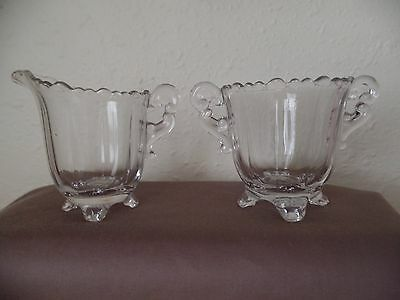 Vintage Indiana Glass Co. Footed Clear Glass Fluted Sugar Bowl & Creamer