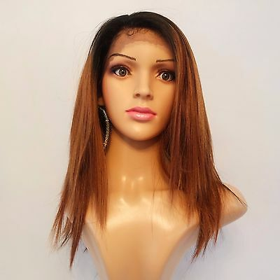 Synthetic Lace Front Straight Dark Roots/Auburn Ombre 16""