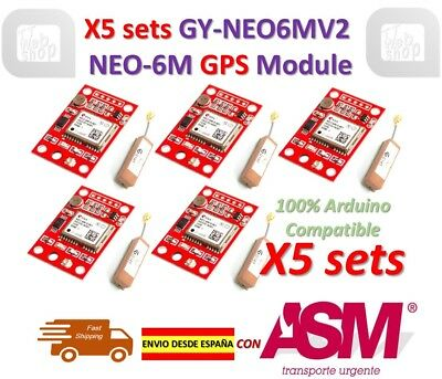 5pcs GY-NEO6MV2 NEO-6M GPS Module NEO6MV2 with Small Antenna ENVIO RAPIDO