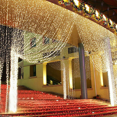 300 LEDs String Fairy Curtain Light Decoration Party Wedding Xmas Festival Lamp