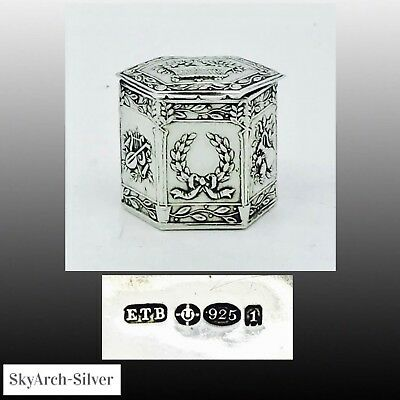 SOLID SILVER Pill Box ART NOUVEAU Hallmarked London 1906 EDWIN THOMPSON BRYANT